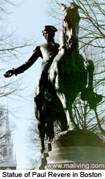 Massachusetts History - Statue of Paul Revere in Boston