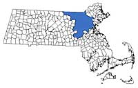 Massachusetts North of Boston Region Map - Middlesex County