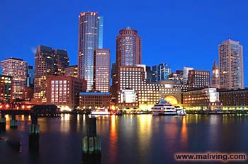 Boston, Massachusetts Skyline at Night